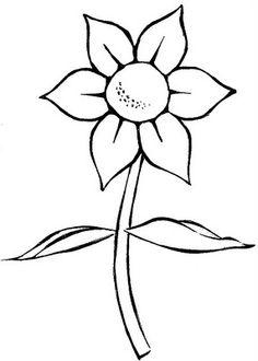 Desenho simples de flor colori. Risco de flor. Desenho infantil para colorir - Colorir Desenhos e Divertido