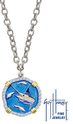 1f2c0248220 25mm Full Color Enameled Marlin Head sterling silver medallion with 18k  yellow gold tabs and diamond bezel on 18