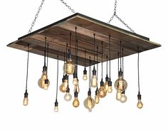 Square Reclaimed Wood Chandelier - Rustic Dining Room Chandelier, Industrial Chandelier, Edison Bare Bulb Pendants