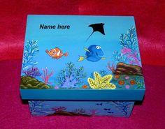 Hand Painted Boy's Keepsake Box Blue Decorative Wood Personalized Memory Box