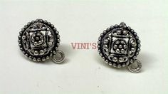 SH17 Antique Silver stud base with loop Stud size 15mm, With Rubber stopper Rs- 24/pair