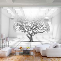 Ready murals, canvas prints and photo wallpaper: The best motifs for every living . Finished murals, canvas prints and photo wallpaper: the best motifs for every apartment! Living Room Wall Wallpaper, 3d Interior Design, 3d Wall Murals, White Wallpaper, Designer Wallpaper, Picture Wall, Decoration, Home Decor, Photo Tree