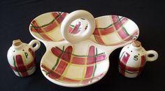 Vernonware S/P + Relish set Organdie Plaid Vtg California Vernon Kilns Pottery  #Vernonware