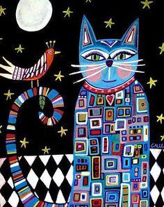 8x10 PRINT Cats White Black Bird Folk Poster Art of Painting