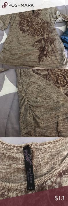 Andrea Missy Plus Top 3/4 sleeves, size 2X very thin sweater. I always wore a brown cami under it. Andrea Missy Plus  Tops