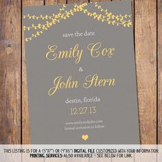 Modern Save The Date: Grey And Yellow, Wedding Invitation, Save The Date  Template