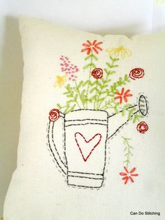 Flowers in watering can embroidery