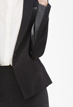 Contemporary Faux Leather-Paneled Blazer