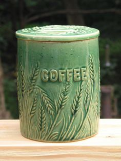1920's Hull Pottery yellowware wheat embossed COFFEE CANISTER stoneware