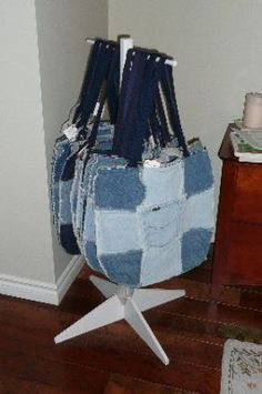 I have been making these denim tote bags for many years.   They are really great as beach bags and shopping totes.