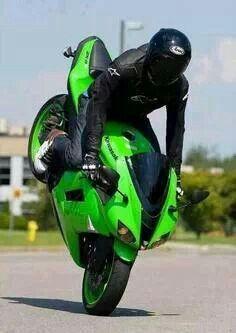 Stoppie on a Kawasaki Custom Sport Bikes, Custom Motorcycles, Sport Motorcycles, Super Sport Cars, Super Cars, Stunt Bike, Biker Gear, Kawasaki Motorcycles, Kawasaki Ninja