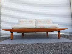 Danish Teak Love Seat with Floating Side Table by ZeeJunkHunter