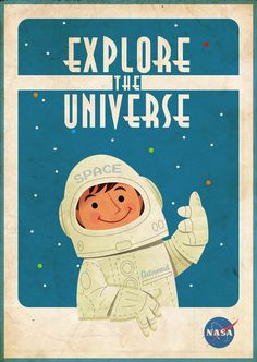 vintage retro kitsch nasa astronaut cartoon poster illustration art print to celebrate the solar eclipse great stuff for kitsch retro loving space and science geeks like me Vintage Space, Vintage Art, Vintage Type, Vintage Graphic, Vintage Prints, Graphic Art, Vintage Travel Posters, Retro Posters, Cartoon Posters