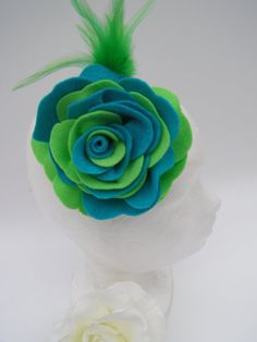 Turquoise and Light Green Felt Rose with Blue by SiogDesign, €12.50