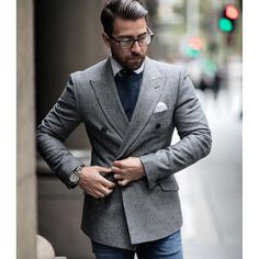 8441a357bfe2 grey double breasted jacket Modern Mens Fashion, Men Fashion, Double  Breasted Suit, Man
