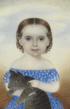 Miniature folk art child portrait with cat by Clarissa Peters (American, 1809-1854)