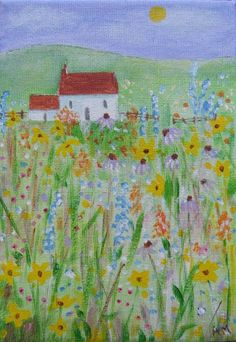 Original Acrylic on Canvas - COTTAGE GARDEN | eBay