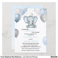 Cute Elephant Boy Balloons Virtual Baby Shower Invitation Baby Shower Invitation Cards, Baby Shower Invitations For Boys, Peanut Baby Shower, Baby Boy Shower, Elephant Balloon, Its A Boy Balloons, Virtual Baby Shower, Cute Elephant, Floral Baby Shower