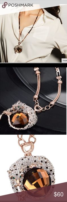 Long Panther necklace. Statement pendant NEW  FASHION  TREND 2017 . LONG , ATTENTION DRAWING  necklace for everyday and occasion. Great 🎁 gift! Style 527-22-54y Jewelry Necklaces