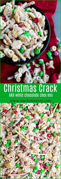 Christmas Crack - aka white chocolate chex mix. This is the perfet holiday treat and is also a great gift! Everyone loves it!