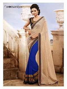 Beautifully designed Blue and Beige Georgette saree with heavy embroidery work en-crafted all over. Comes along with Contrast matching Black Blouse.