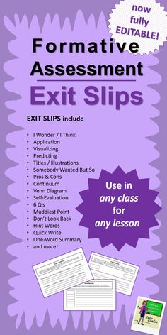 Formative Assessment Exit Slips - NOW FULLY EDITABLE!  Use these 20 Exit Slips to assess understanding or reading comprehension in any class.  ($)