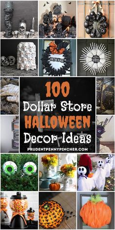 Decorate for halloween on a budget with these dollar store halloween decor ideas. From spooky halloween wreaths to scary yard halloween decorations, there are plenty of DIY halloween decorations to choose from. There are both indoor and outdoor halloween decor ideas for inspiration. Diy Deco Halloween, Halloween Veranda, Diy Halloween Dekoration, Homemade Halloween Decorations, Theme Halloween, Halloween Birthday, Halloween Cookies, Holidays Halloween, Halloween Tattoo