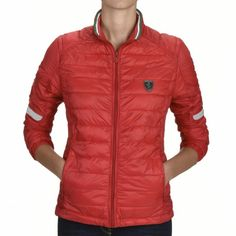 Ladies classic collar padded jacket with horizontal quilting and reflective inserts, Shield on the front and Scuderia Ferrari logo on the back. Scuderia Ferrari Logo, Official Store, Padded Jacket, Quilted Jacket, F1, Quilting, Women Wear, Winter Jackets, Sporty