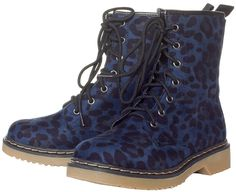 SONIC REDUCER BLUE LEOPARD BOOTS They'll all stop & stare, but who really cares! Strap on these 7 eye blue leopard print boots & kick your old boots to the gutter. $40.00