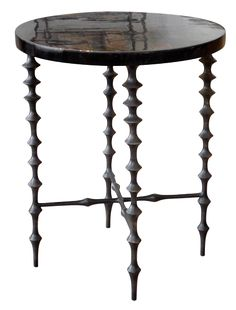"Ichibad Round Side Table - Cast Aluminum Base w/Resin or Shell Top -  17""Diameter x 20.75""H"