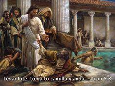 Levantate, toma tu camilla y anda. Juan 5:8. Buenas Noticias Sin Limited. Evangelio