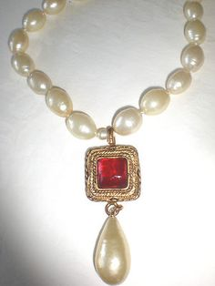 Chanel Vintage Pearls with Red Gripoix Drop Pearl Pendant Necklace 1983 Signed