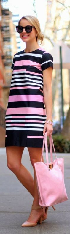 Spring street fashion chic /karen cox. Love the geometric design on this dress.