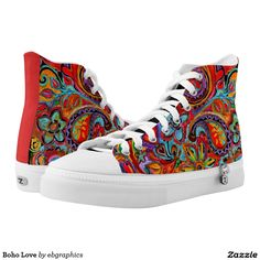 Find brilliant men's sneakers from Zazzle. Whether you like high tops or low top sneakers we have the pair for you. Vintage Hippie, Converse Chuck Taylor, High Tops, Paisley, High Top Sneakers, Athletic Shoes, Brazil Flag, Fashion Accessories, Design Inspiration