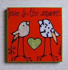 Love is the Answer Crossword bird by katieleese