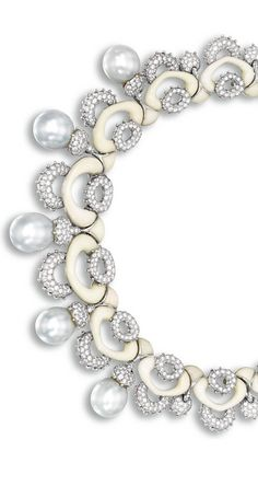 Cultured Pearl, White Coral and Diamond Necklace, Mauboussin Designed as a series of interlocking white coral and diamond-set links, set to the front with five cultured pearls measuring approximately 19.65 x 17.10 x 17.05mm to 16.40 x 15.65 x 15.60mm, the diamonds together weighing approximately 20.00 carats, mounted in 18 karat white gold, length approximately 390mm, signed and numbered 49628.