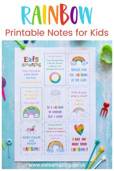 FREE Rainbow themed Printable lunchbox notes for kids - just download print and cut up for instant fun notes to pop in lunch boxes and school bags #EatsAmazing #Rainbow #lunchbox #lunchboxnotes #schoollunch #lunchnotes #kidsfood #funfood #bento #packedlunch #printable #freeprintable #jokes #funfacts #facts Fun Facts For Kids, Food Art For Kids, Cooking With Kids, Lunchbox Notes For Kids, Lunch Box Notes, Cute Surprises, Rainbow Quote, Kids Pages, Good Notes