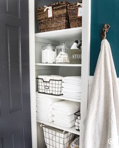 Small Linen Closets, Bathroom Linen Closet, Bathroom Closet Organization, Laundry Closet, Bathroom Storage, Home Organization, Bathroom Ideas, Laundry Rooms, Cleaning Closet
