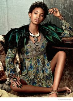"""The 14-year-old daughter of Will Smith, Willow Smith, appears in the spring-summer 2015 issue of CR Fashion Book (out on newsstands now). In the images captured by Bjorn Iooss, she sports opulent jewelry, feathers and worldly prints. For her interview, Willow opens up about wanting to keep her hair natural saying, """"I just want to have dreads,"""" she reveals. """"I want to embrace my full self, as natural as ..."""