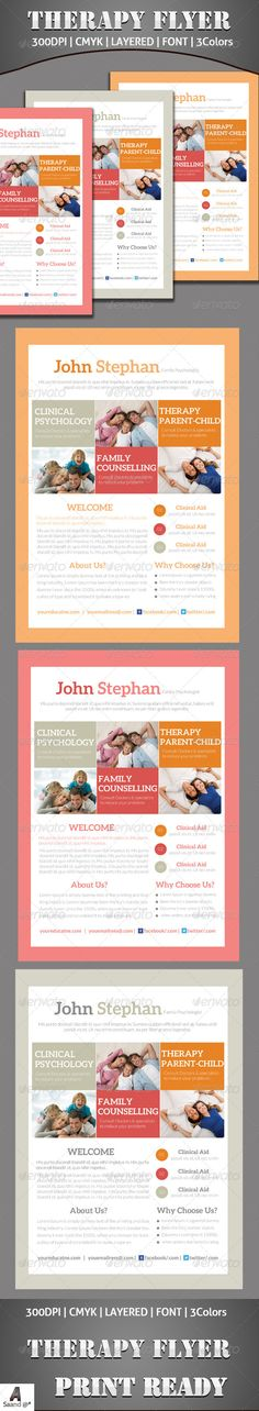 Therapy Flyer  #GraphicRiver         Therapy Flyer Template Fully layered PSD 300 Dpi, CMYK Completely editable, print ready Text/Font or Color can be altered as needed Photos are not included in the file Font File: Fonts: .fontsquirrel /fonts/lato   .fontsquirrel /fonts/aleo     Created: 22November13 GraphicsFilesIncluded: PhotoshopPSD Layered: Yes MinimumAdobeCSVersion: CS5 PrintDimensions: 210x297 Tags: advert #advertisement #advertising #brightcolor #calmcolo #clean #commercial #company…