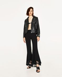 Image 1 of LEATHER EMBROIDERED JACKET WITH METALLIC DETAILS from Zara