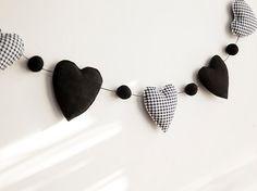 black and white heart garland