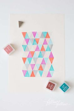 DIY Stamped Geometric Decals