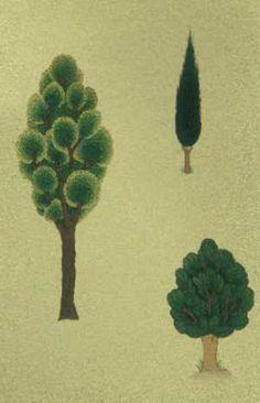 Cahide Keskiner - Minyatür Sanatında Doğa Çizim ve Boyama Teknikleri Hünernâme'den değişik ağaçların boyanması
