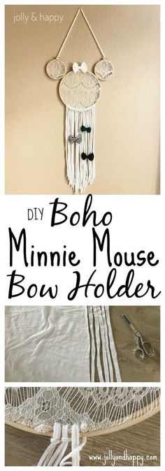 DIY Boho Minnie Mouse Bow Holder - Jolly & Happy DIY Boho Minnie Mouse Bow Holder Jolly and Happy<br> A quick and easy DIY to make this boho chic Disney themed bow holder. It also makes a super cute Minnie Mouse wall decor for any Disney fan! Disney Diy, Disney Crafts, Minnie Mouse Gifts, Minnie Mouse Nursery, Minnie Mouse Hair Bow, Minnie Mouse Christmas, Kids Headbands, Flower Headbands, Diy Bebe