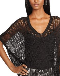 Crocheted V-Neck Top - V-Necks   Sweaters - RalphLauren.com