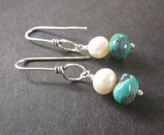 Summer skies Turquoise Pearl and Sterling by elementsinspired, $29.00