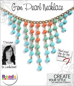 SWAROVSKI ELEMENTS Gem Colors Pearl Necklace by Joanne Lockwood.  Learn how to make this necklace by following a few simple instructions http://www.beadsdirect.co.uk/gallery/detail/gem-pearls-necklace/