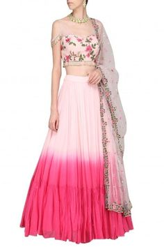 Megha & Jigar Featuring a pink cold shoulder blouse in georgette base with embroidery. It is paired with an ombre lehenga skirt and net dupatta. Lehnga Dress, Lehenga Blouse, Lehenga Skirt, Lengha Choli, Indian Designer Outfits, Designer Dresses, Designer Sarees, Indian Dresses, Indian Outfits