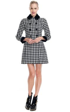 Moschino Double Breasted Houndstooth Coat